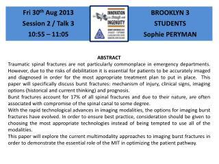 BROOKLYN 3 STUDENTS Sophie PERYMAN