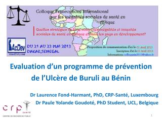 Evaluation d�un programme de pr�vention  de  l�Ulc�re de  Buruli  au  B�nin