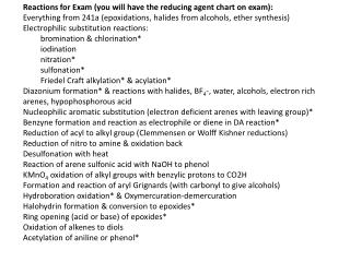 Reactions for  Exam (you will have the reducing agent chart on  exam) :