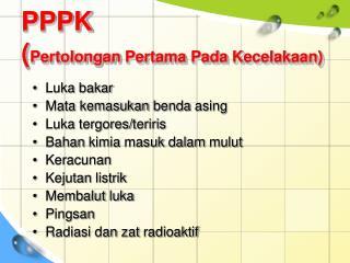 PPPK ( Pertolongan Pertama Pada Kecelakaan )