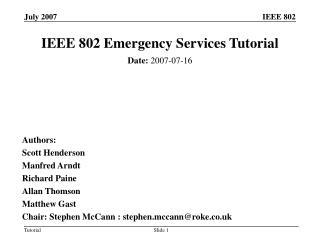 IEEE 802 Emergency Services Tutorial