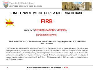 Università degli Studi di Genova SERVIZIO SUPPORTO ALLA RICERCA