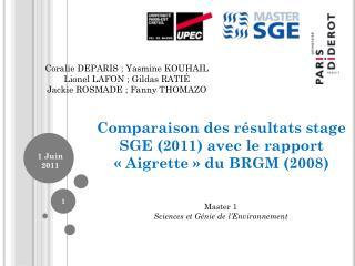 Comparaison des résultats stage SGE (2011) avec le rapport «Aigrette» du BRGM (2008)