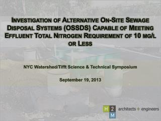 NYC Watershed/ Tifft  Science & Technical Symposium September 19, 2013