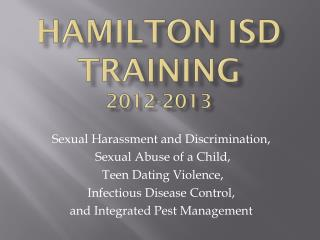 Hamilton ISD Training 2012-2013