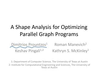 A Shape Analysis for Optimizing Parallel Graph Programs
