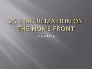 25-1 Mobilization on the home front