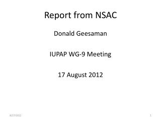 Report from NSAC