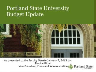 Portland State University Budget Update