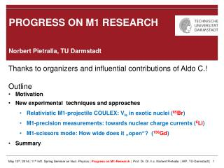 PROGRESS ON M1 RESEARCH