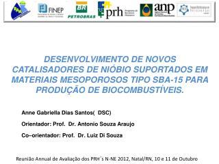 Anne  Gabriella  Dias Santos(  DSC) Orientador : Prof.  Dr.  Antonio Souza Araujo