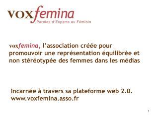Incarnée à travers sa plateforme web 2.0. www.voxfemina.asso.fr