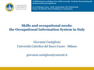 Skills and occupational needs:  the Occupational Information System in Italy