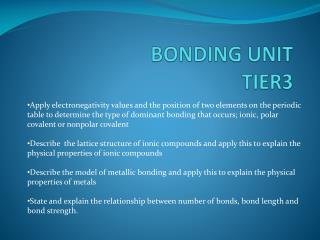 BONDING UNIT  TIER3