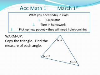 Acc  Math 1 	       March 1 st