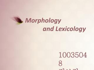 Morphology             and Lexicology