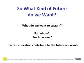 So What Kind of Future  do we Want?