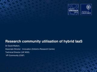 Research community utilisation of hybrid IaaS