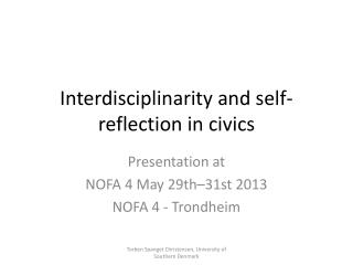 Interdisciplinarity and self-reflection in civics