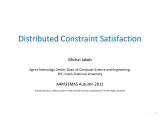 Distributed Constraint  Satisfaction