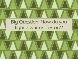 Big Question:  How do you fight a war on Terror??