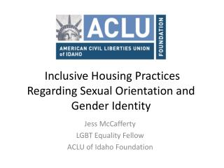 Inclusive Housing Practices Regarding Sexual Orientation and Gender Identity