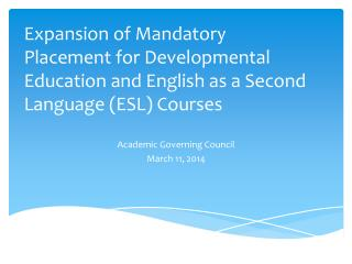 Academic Governing Council March 11, 2014