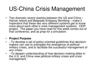 US-China Crisis Management