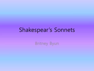 Shakespear�s Sonnets