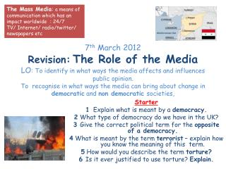 Starter  1 Explain what is meant by a  democracy. 2  What type of democracy do we have in the UK?