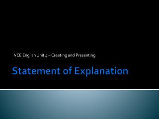 Statement of Explanation