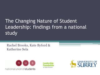 The Changing Nature of  Student Leadership: findings from a national study