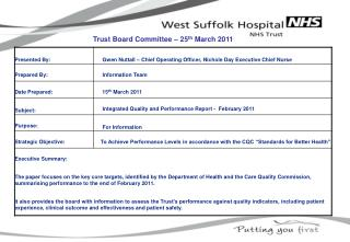 Trust Board Committee – 25 th  March 2011