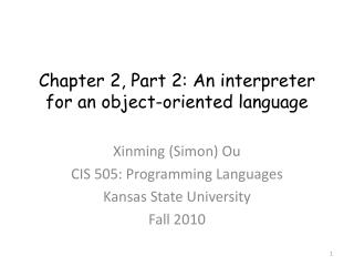 Chapter 2, Part 2: An interpreter for an object-oriented language
