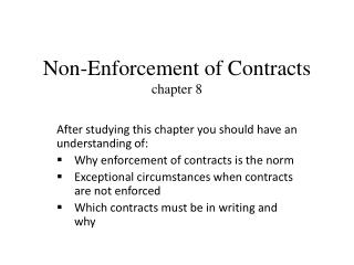 Non-Enforcement of Contracts chapter 8