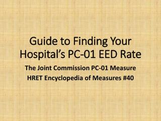 Guide to Finding Your Hospital's PC-01 EED Rate