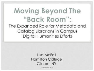 Lisa McFall Hamilton College Clinton, NY
