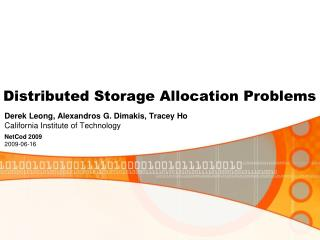 Distributed Storage Allocation Problems