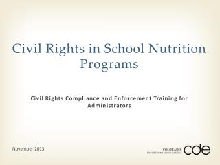 Civil Rights in School Nutrition Programs