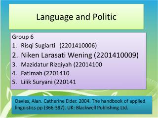 Language and Politic