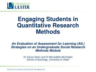 Engaging Students in Quantitative Research  Methods