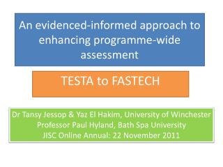 An evidenced-informed approach to  enhancing programme-wide assessment