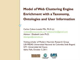 Model of Web Clustering Engine Enrichment with a Taxonomy, Ontologies and User Information