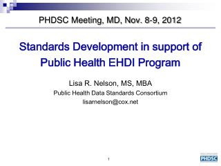 PHDSC Meeting, MD, Nov. 8-9, 2012