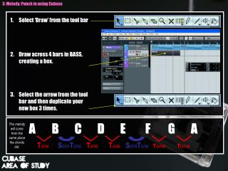 1.	Select 'Draw' from the tool bar 2.	Draw across 4 bars in BASS, creating a box.