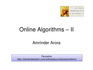 Online Algorithms – II