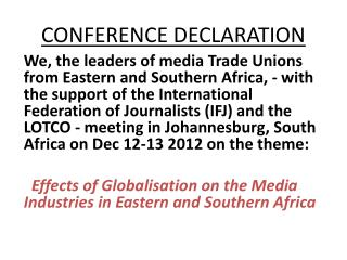 CONFERENCE DECLARATION