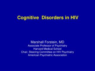 Cognitive  Disorders in HIV