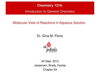 Chemistry 1210: Introduction to General Chemistry