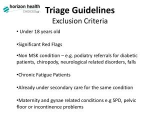 Triage Guidelines Exclusion Criteria